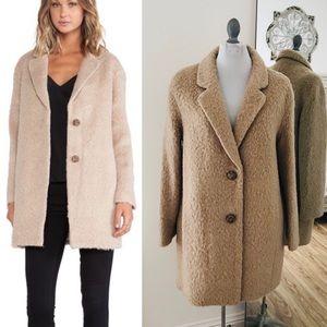Kate Spade tan teddy bear pea coat medium faux fur